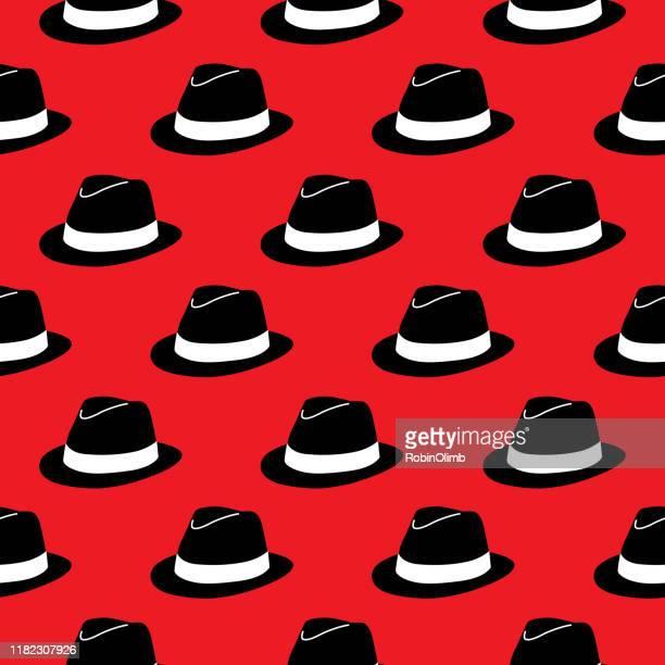 black hats seamless pattern - fedora stock illustrations