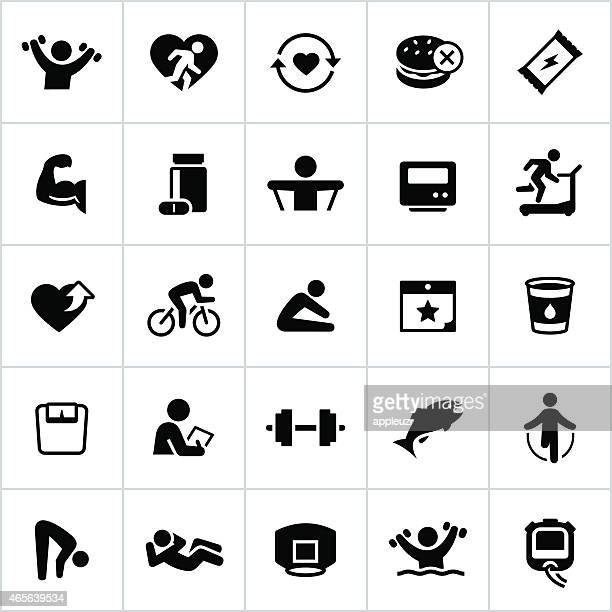 black health and fitness icons - anaerobic stock illustrations, clip art, cartoons, & icons