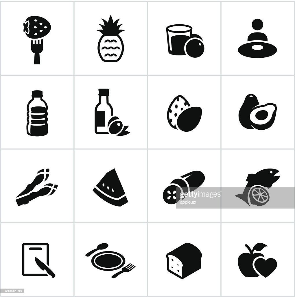 Black Healthy Eating Icons : stock illustration
