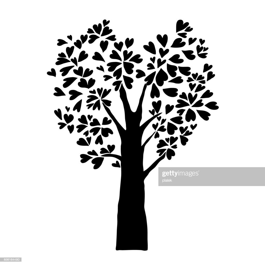 black heart leaves tree, isolated imagination tattoo sign