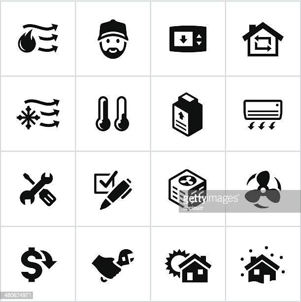 black heating and cooling icons - radiator heater stock illustrations, clip art, cartoons, & icons