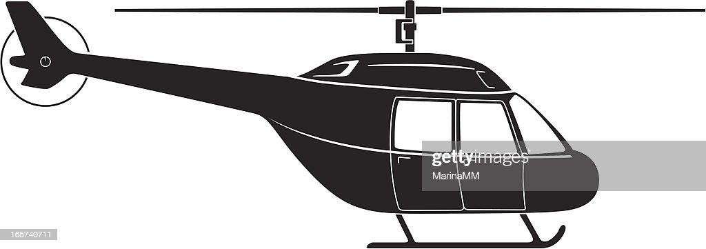Black helicopter against white background
