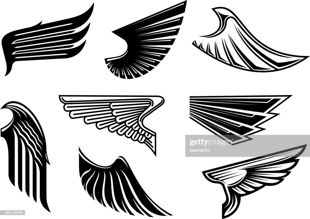 Black heraldic and tribal wings elements