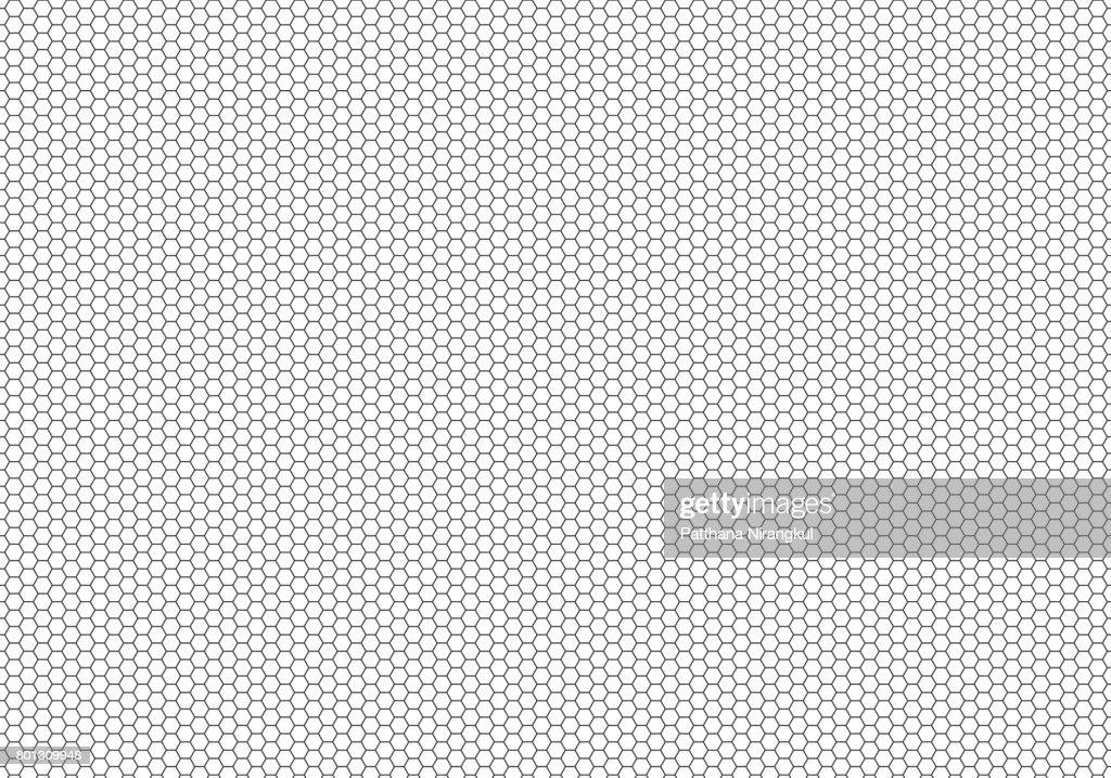 Black hexagon mesh pattern on white background texture vector illustration.