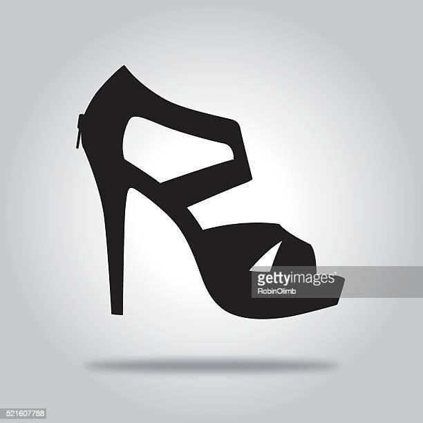 ilustraciones, imágenes clip art, dibujos animados e iconos de stock de zapato de talón icono negro - tacones altos