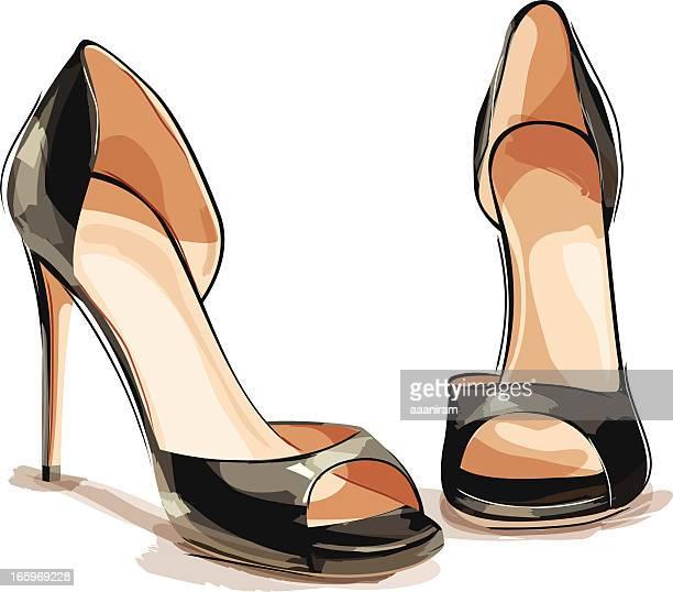 ilustraciones, imágenes clip art, dibujos animados e iconos de stock de zapatos de tacón negro - tacones altos