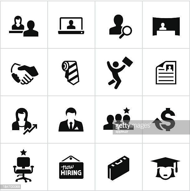 black hiring icons - job fair stock illustrations