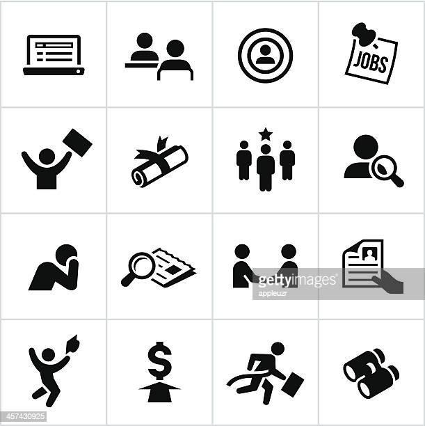 black hiring icons - job interview stock illustrations, clip art, cartoons, & icons
