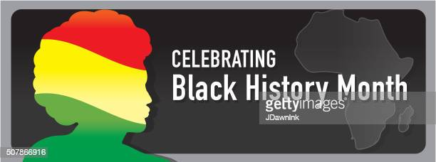 black history month banner design with side view of man - black history month stock illustrations