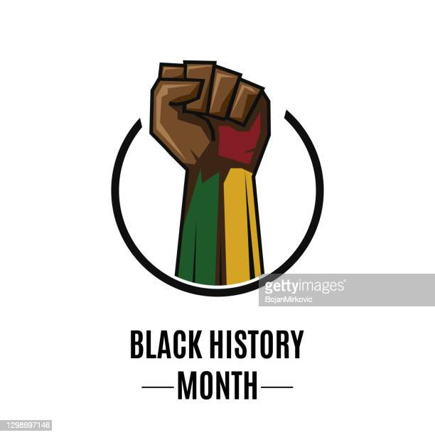 black history month card with fist in circle. vector - black history month stock illustrations