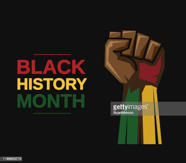 black history month card with fist. vector - human limb stock illustrations