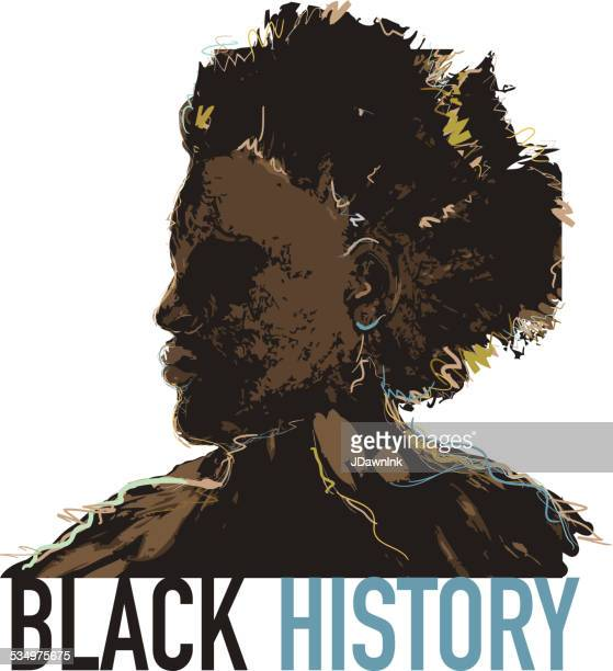 Black History month design with side view of man