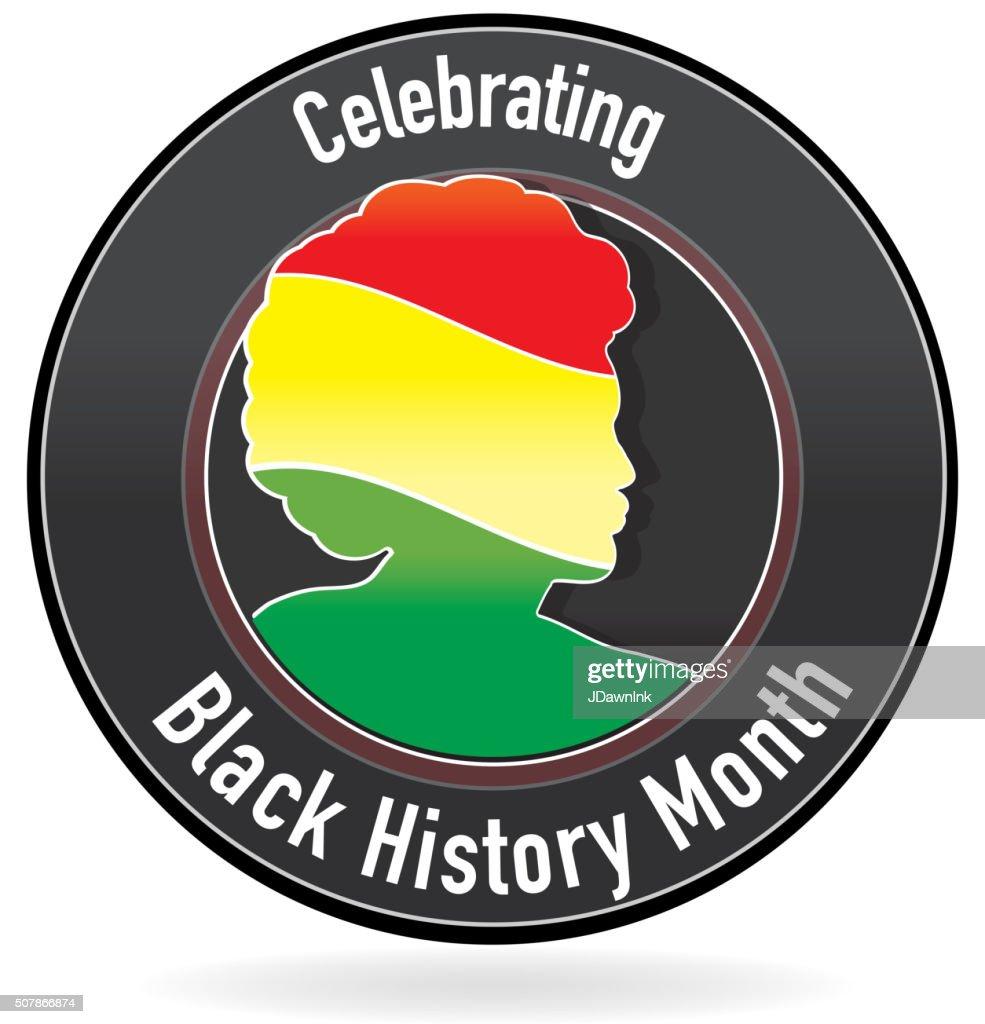 Black History month emblem design with side view of man : stock illustration