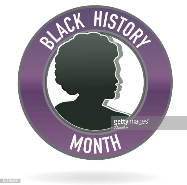 black history month emblem design with side view of man - black history month stock illustrations