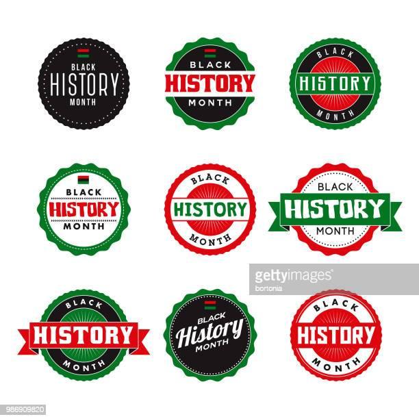 black history month icon set - black history month stock illustrations