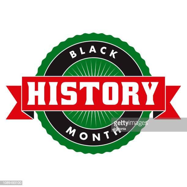 black history month label - black history month stock illustrations