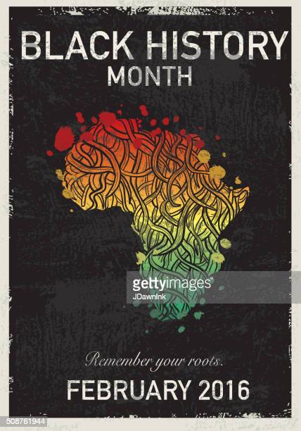 black history month poster design with roots - black history month stock illustrations