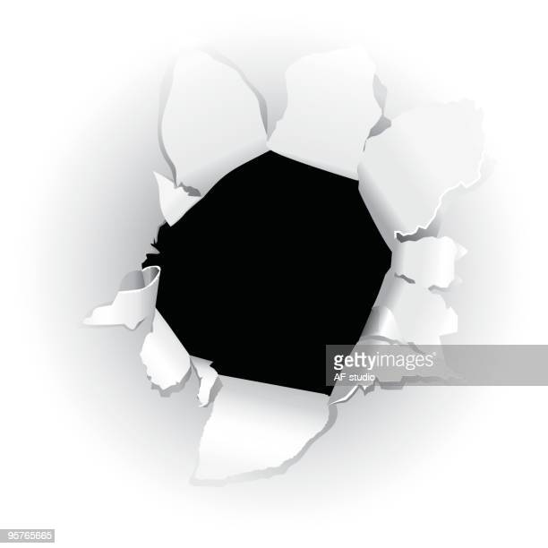 black hole in paper - bullet hole stock illustrations