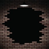 Black hole in the brick wall. Stock vector.