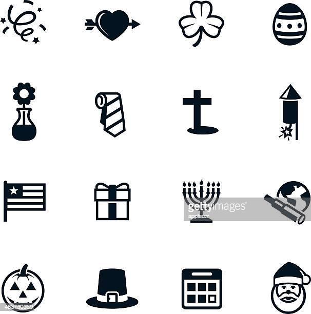 black holiday icons - hanukkah stock illustrations, clip art, cartoons, & icons