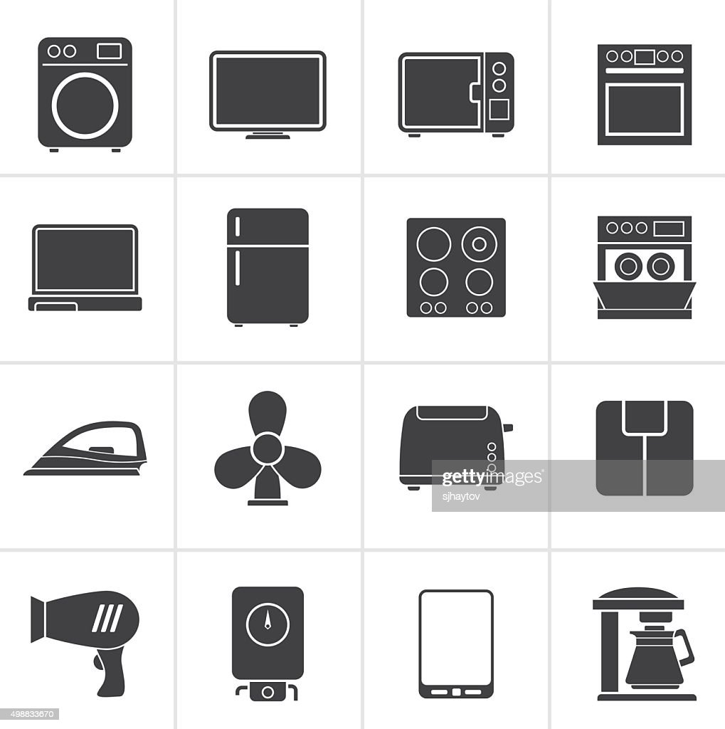 Black home appliance icons