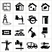 Black Home Construction Icons