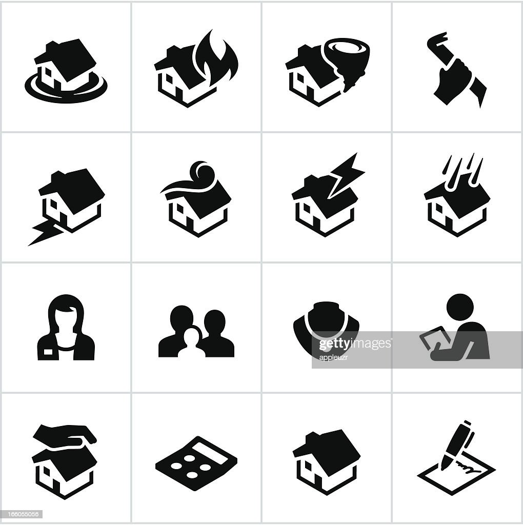 Black Homeowners Insurance Icons : stock illustration