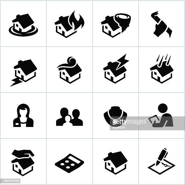 Black Homeowners Insurance Icons