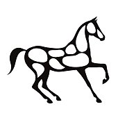 Black horse silhouette with white color spots.