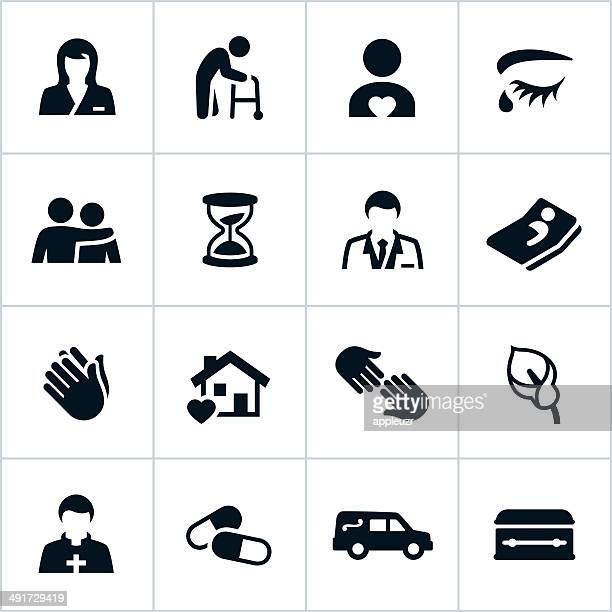 black hospice care icons - terminal illness stock illustrations, clip art, cartoons, & icons