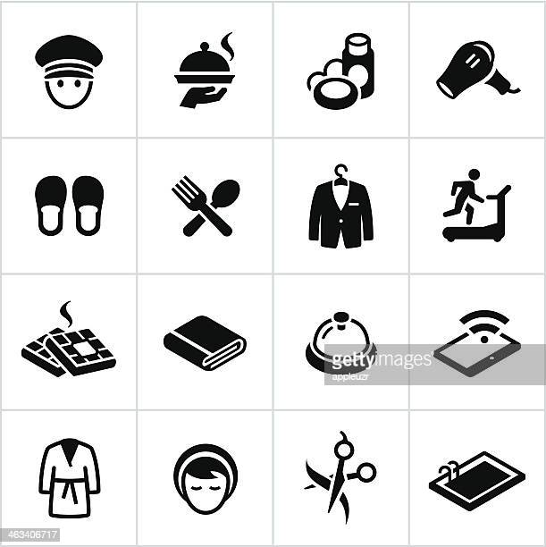 Black Hotel Amenities Icons