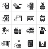 Black Household Gas Appliances icons