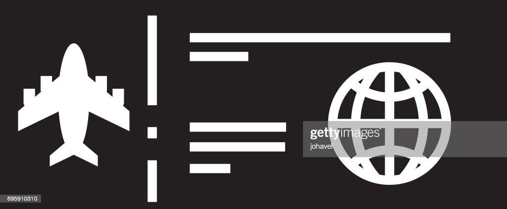 black icon airplane ticket cartoon
