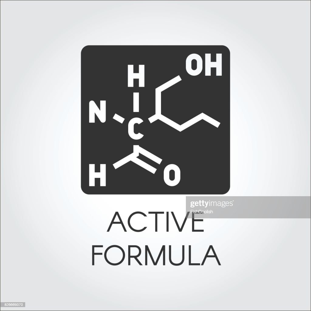Black icon in flat style of active formula concept for medicine, physics, science, biology, chemistry theme. Vector