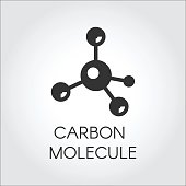 Black icon in flat style of carbon molecules. Organic compound, chemical element. Web logo. Vector graphic label