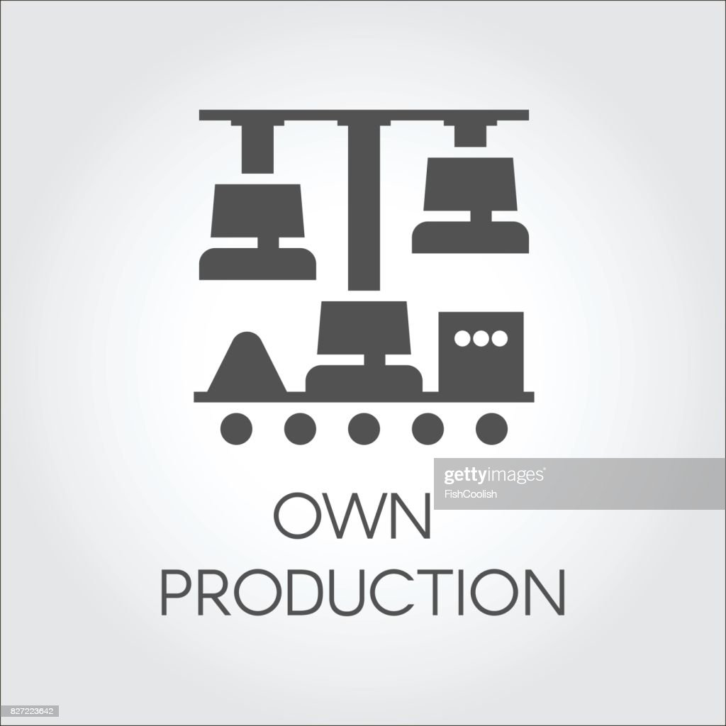 Black icon in flat style of own production concept pictograph graphic button or infographic element stock vector