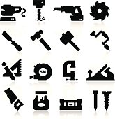16 black icons depicting tools