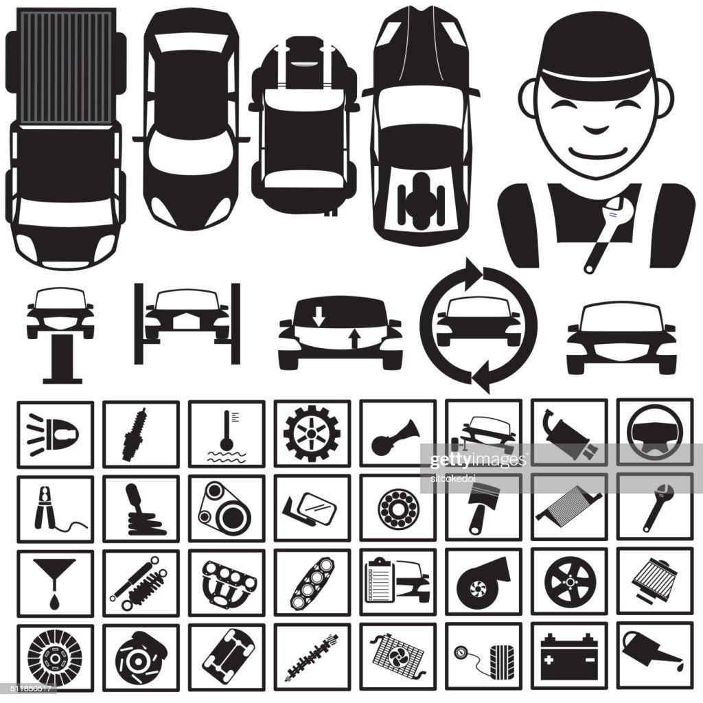 Black icons for garage