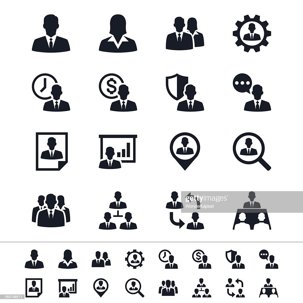 Black icons for human resource management