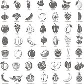 Black Icons - Fruits and Vegetables