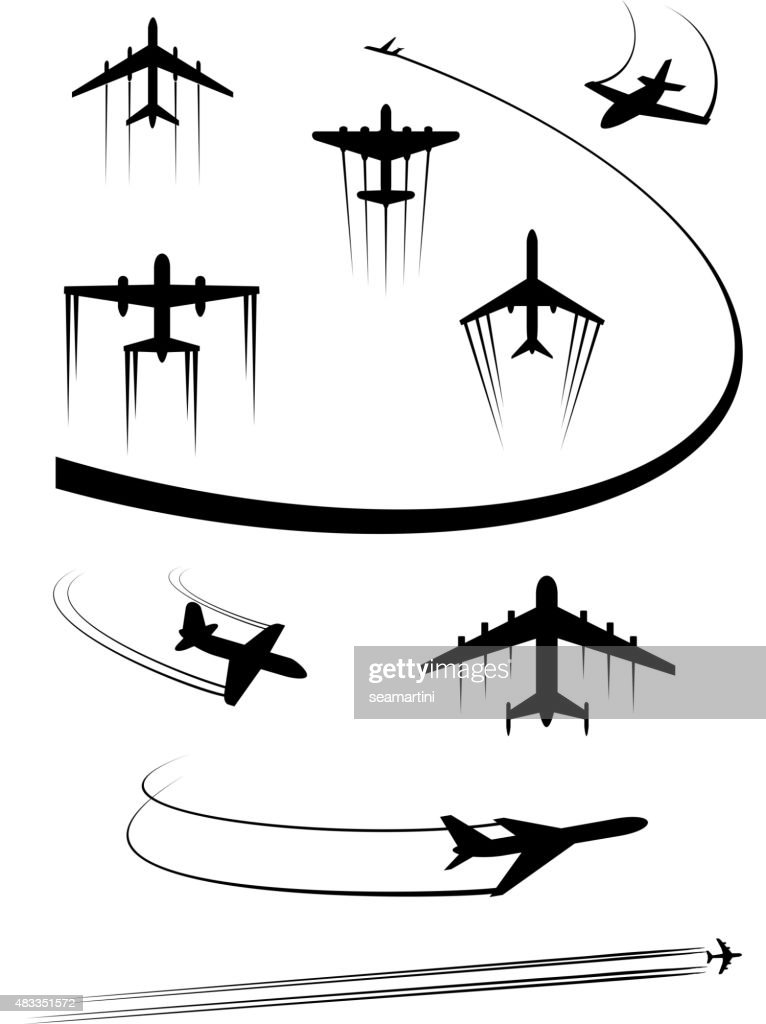 Black icons of airplanes and cargo planes
