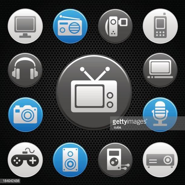 Black icons of multimedia devices on grill