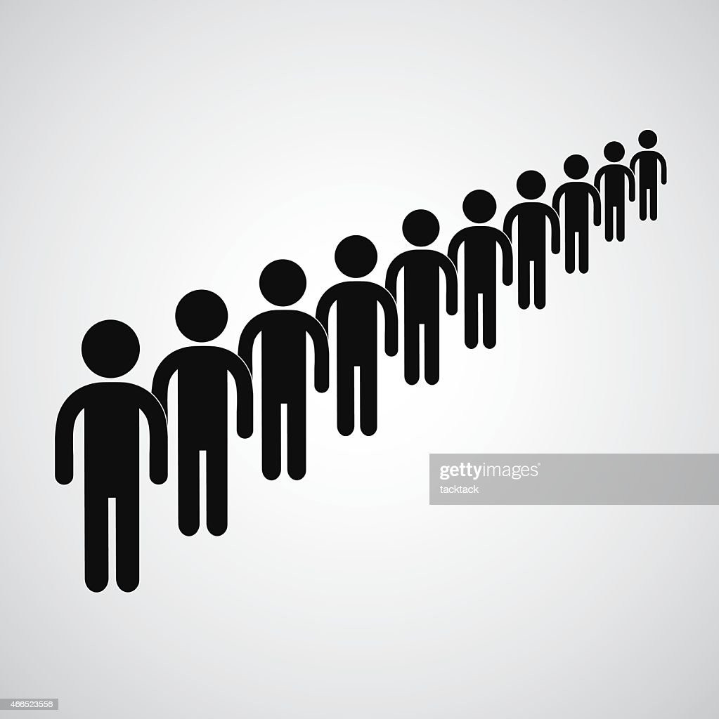 Black icons of people waiting in a long queue