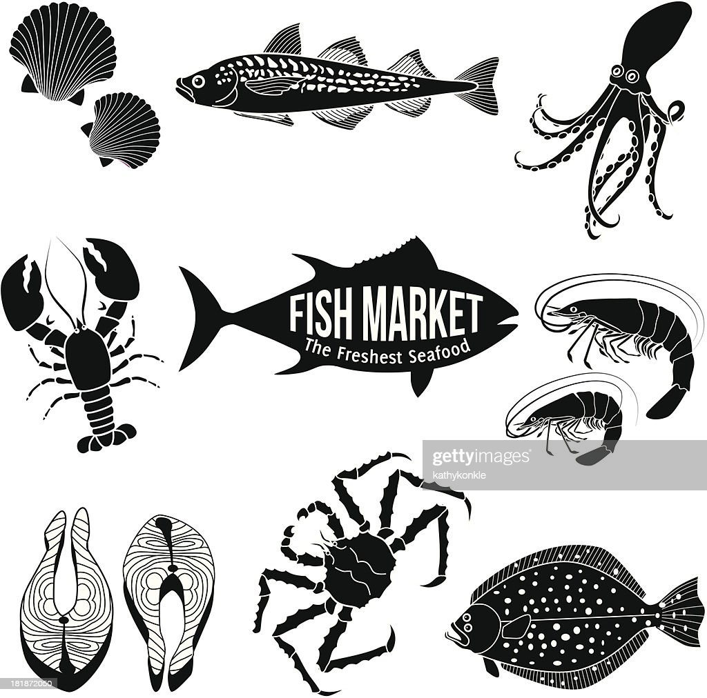 Black icons of various seafood on black background