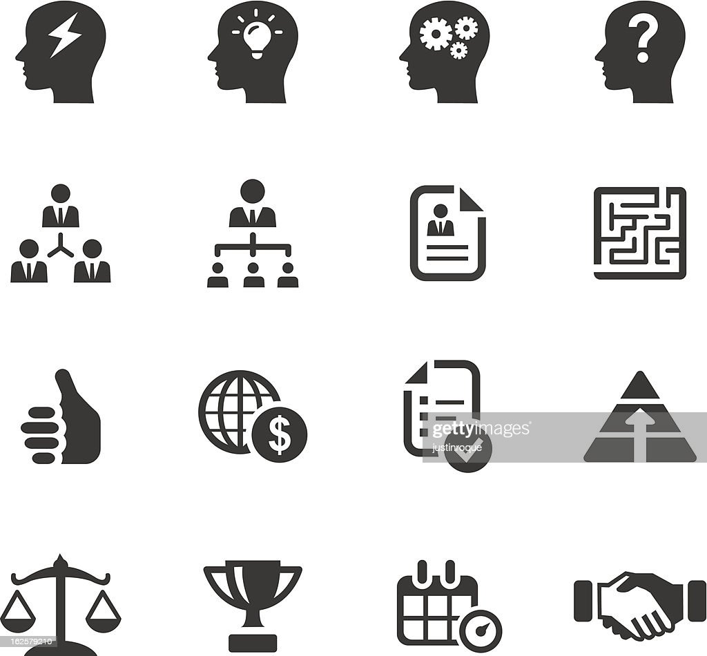 Black icons related to business and management