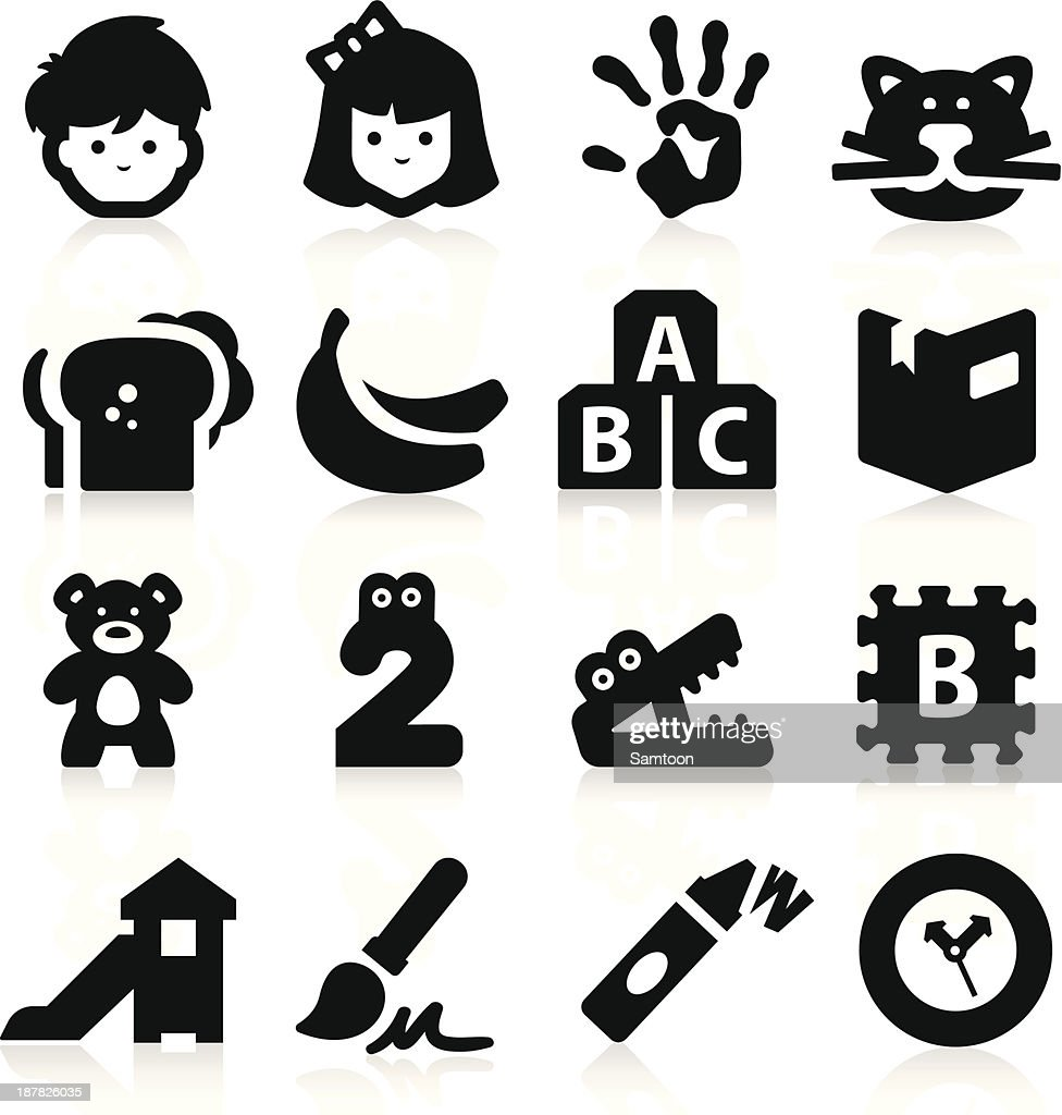 Black icons related to preschool
