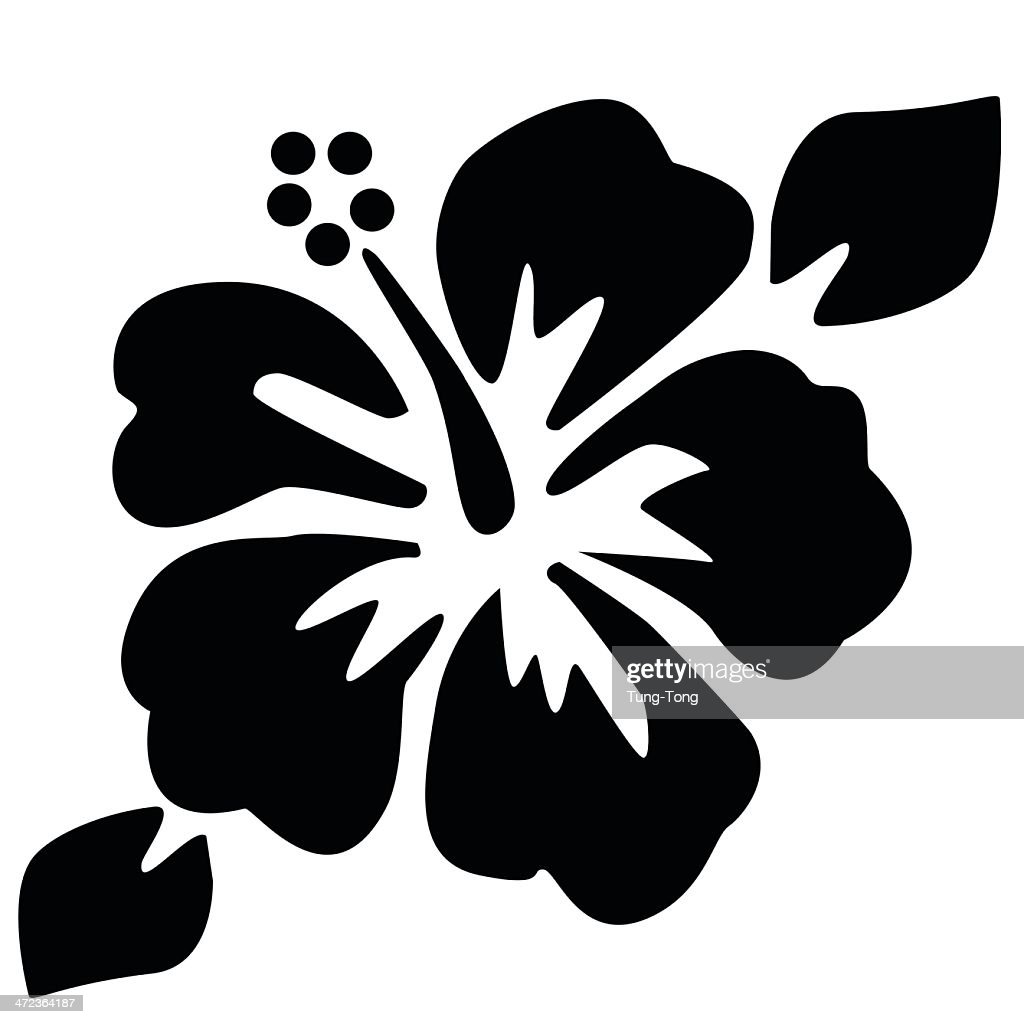Black illustration of a hibiscus flower on a white backing