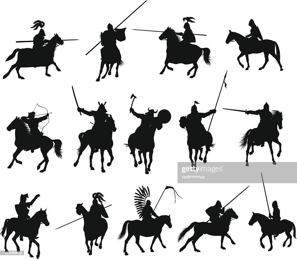 Black illustrations of horsemen