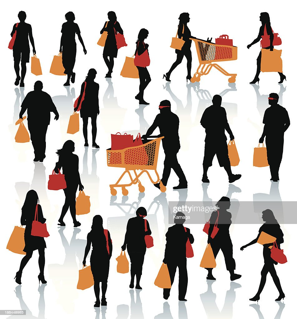 Black illustrations of people shopping with colored bags
