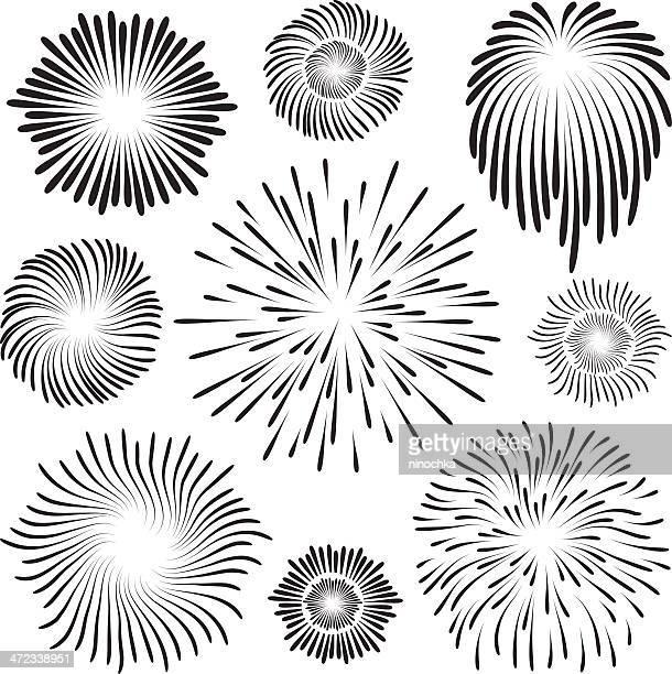 Black images of exploding fireworks against white background